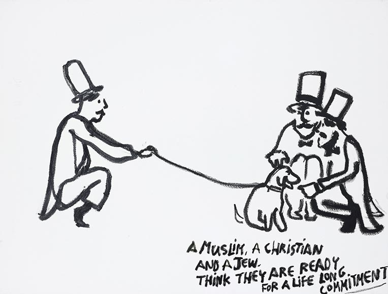Drawing of three men with a dog