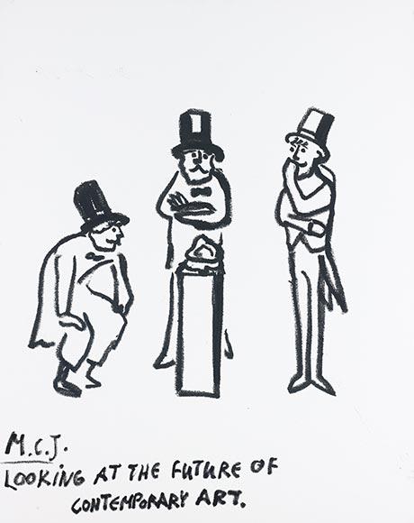 Drawing of three men looking at an objekt on a pillar