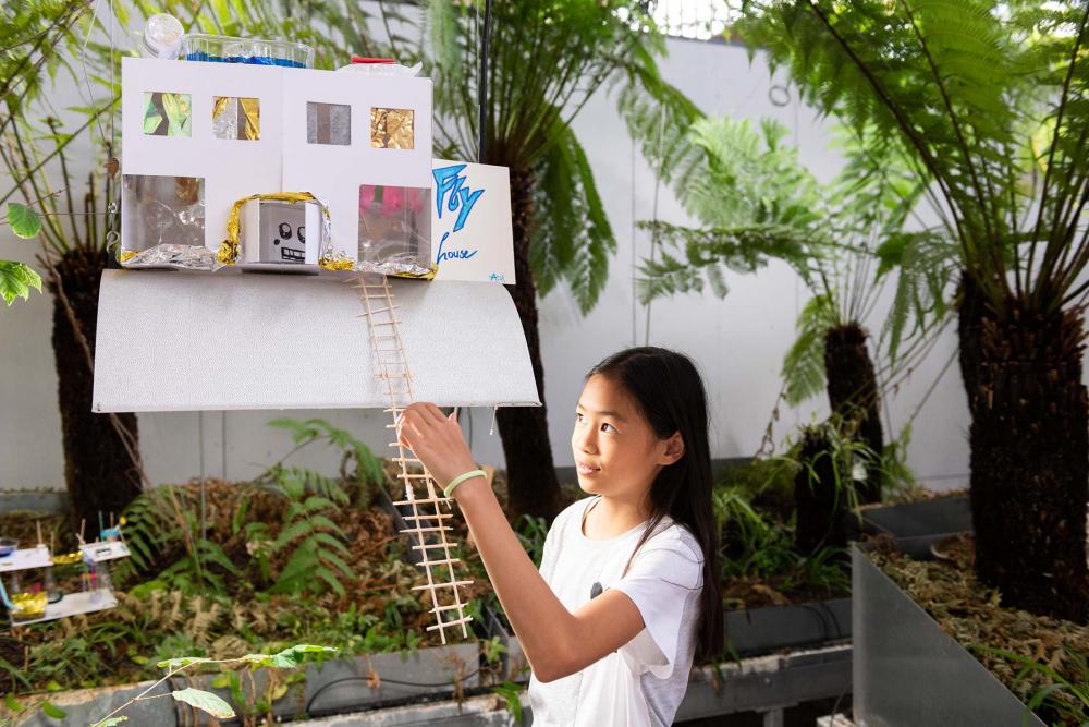 Ein Mädchen präsentiert ihr Flyhouse