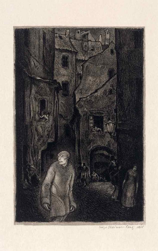 Schwarz-weiß-Litografie einer Altstadtgasse, im Vordergrund links als Halbfigur der Golem mit langem Kittel