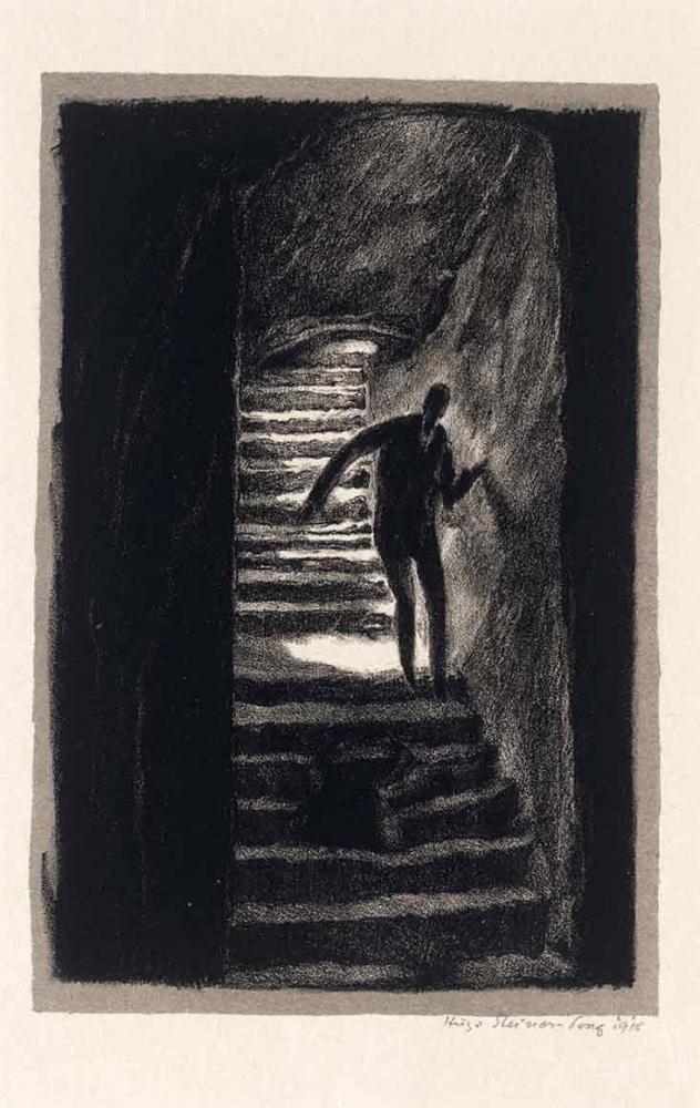 Schwarz-weiß-Litographie einer langen leicht gekrümmten Treppe, auf der sich eine lange hagere männliche Gestalt hinunter tastet, deren Züge im Dunklen liegen