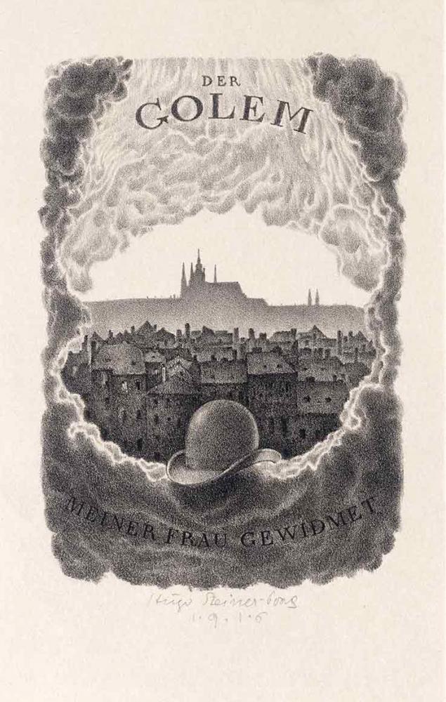 Die Schwarz-weiß-Litographie zeigt in einer aus Wolkenformen gebildeten Kartusche eine Ansicht der Stadt Prag mit der Silhouette des Hradschin am Horizont. Auf dem unteren Wolkenrand liegt in der Mitte ein schwarzer Hut (Melone).