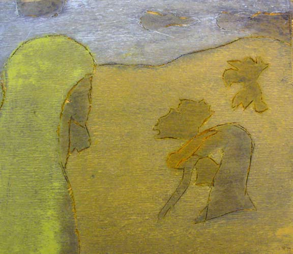 Holzschnitt: Rut und Noomi im Feld