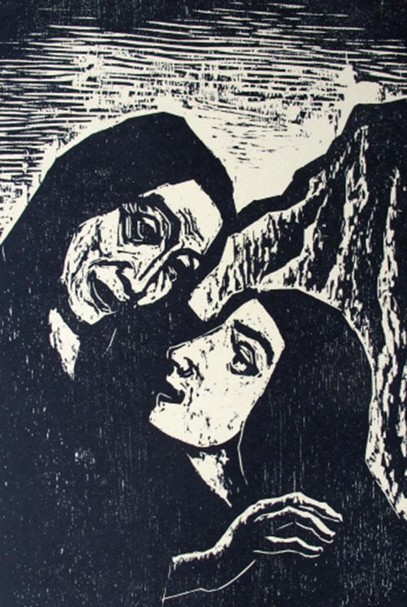 Schwarz-weiß-Druck eines Holzschnitts: Gesichter von zwei Frauen mit Kopftüchern im Profil, die jüngere schaut zur älteren auf, im Hintergrund ein Berg