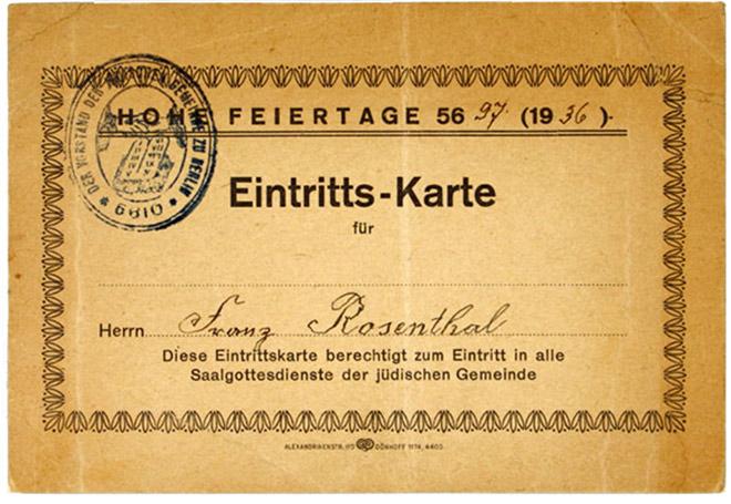 Synagogen-Eintrittkarte für die Hohen Feiertage 1936, ausgestellt für Franz Rosenthal