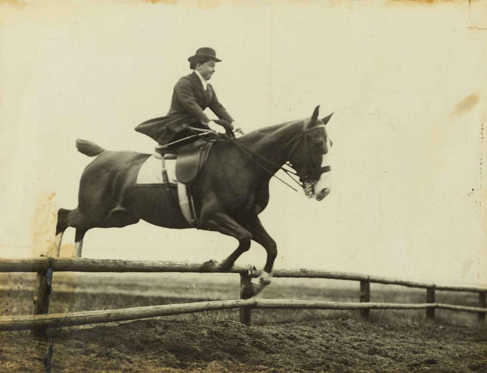 Eine Reiterin in Reitkleidung sitzt im Damensitz auf ihrem Pferd, das im Begriff ist, über ein Hindernis von geringer Höhe zu springen. Die Reiterin presst ihre Lippen zusammen und wirkt dadurch etwas angespannt.