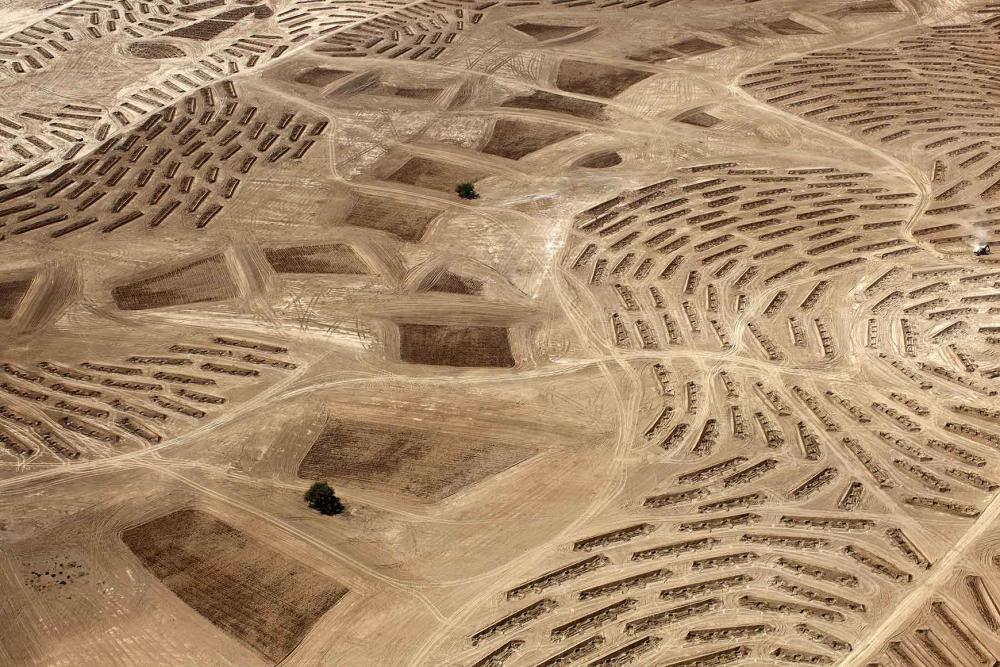 Blick von oben auf eine Wüstenlandschaft mit Mustern aus gepflügten oder mit Pflanzlöchern versehenen Bereichen