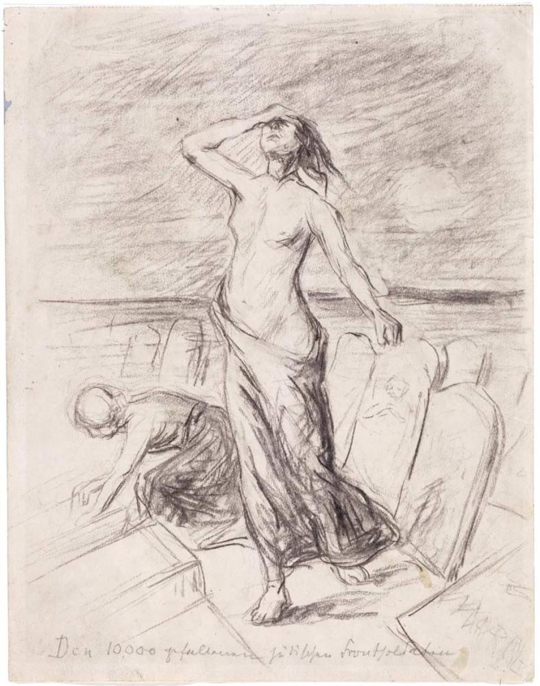 Trauernde Frau mit entblößter Brust taumelt über einen Friedhoft. Ihr Kopf ist nach oben gerichtet, die Augen sind geschlossen, eine ihrer Hände an der Stirn.