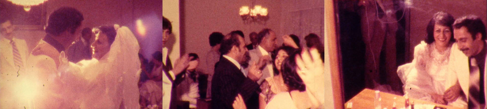 Film stills: dancing bridal couple, wedding guests at the party, happy bridal couple at the table