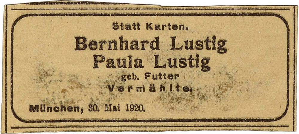 Announcement of the wedding of Bernhard and Paula Lustig née Futter