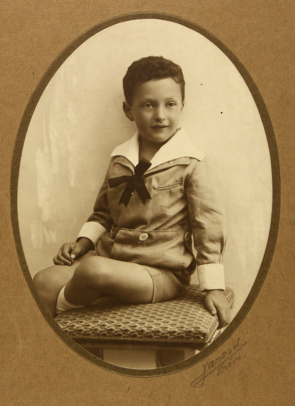 Studio recording of a little boy in a sailor suit