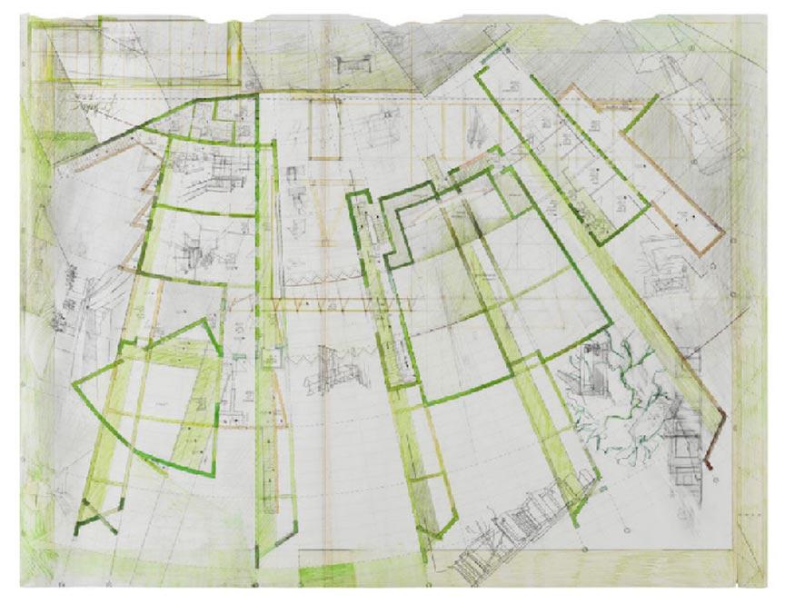 Entwurfszeichnung in Bleistift und Grüntönen mit Strahlen-Anmutung