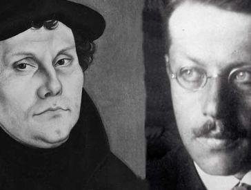 Cranach-Gemälde Luther und Foto von Franz Rosenzweig als Collage