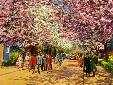 Colored postcard with walkers on a street with blossoming trees and colorful painted houses.