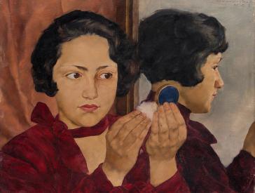 Gemälde einer jungen Frau mit Puderdose in der Hand