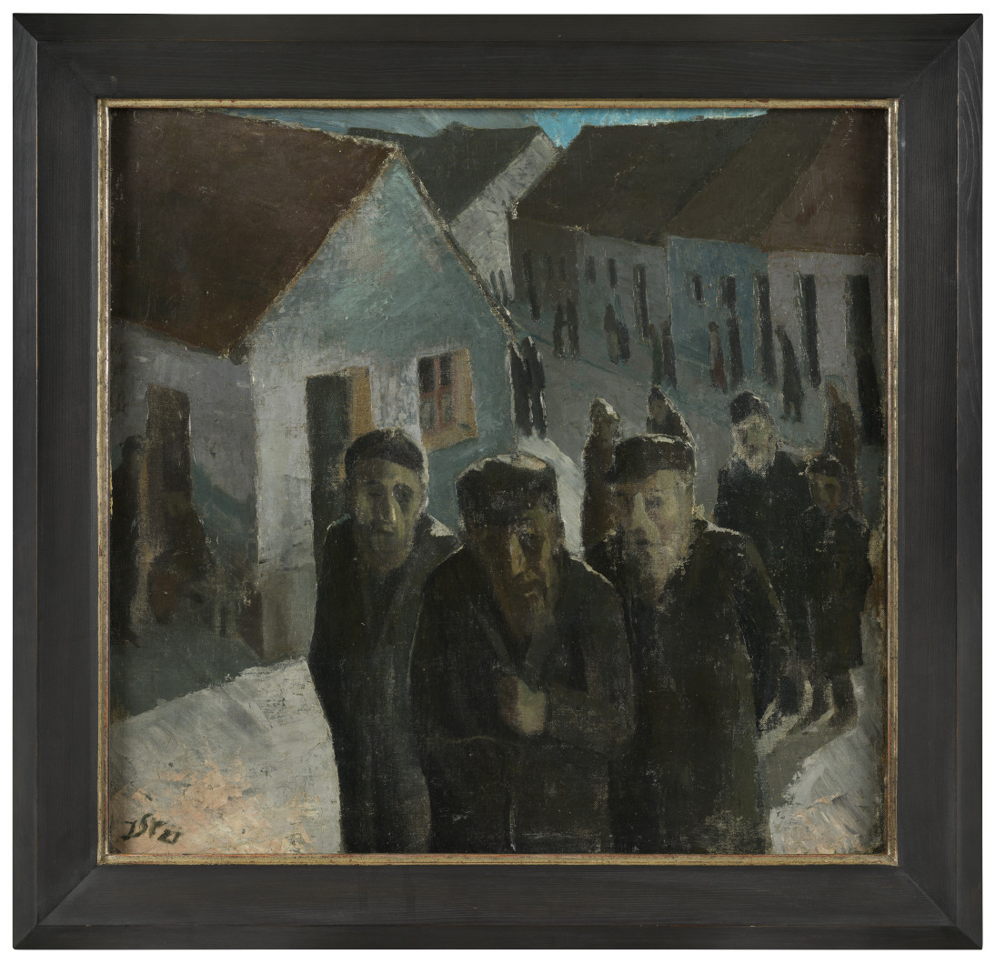 Gemälde mit Rahmen: Die Malerei auf dem Weg ins Gebethaus zeigt eine Schlange älterer Menschen in einer Dorf ähnlichen Kulisse