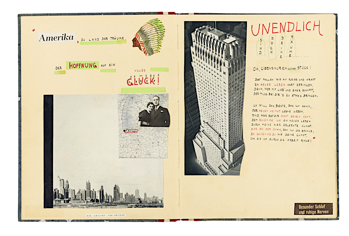 Opened album with pictures of the Chicago skyline, a skyscraper and a painted head with feather decoration as well as handwritten text.