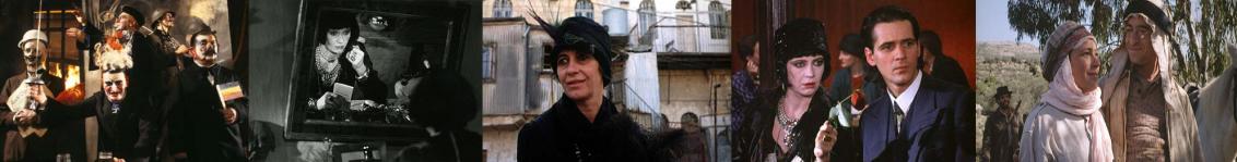 Fünf Filmstills: Männer mit Masken - Frau vor Spiegel - Frau vor Haus in Jerusalem - Paar in 1920er Jahre-Outfits - Paar als Araber gekleidet- (vlnr)