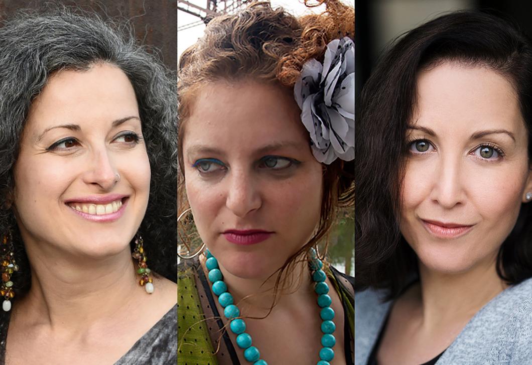 Collage mit Porträtfotos der Kantorinnen Sveta Kundish, Aviv Weinberg und Rachel Weston