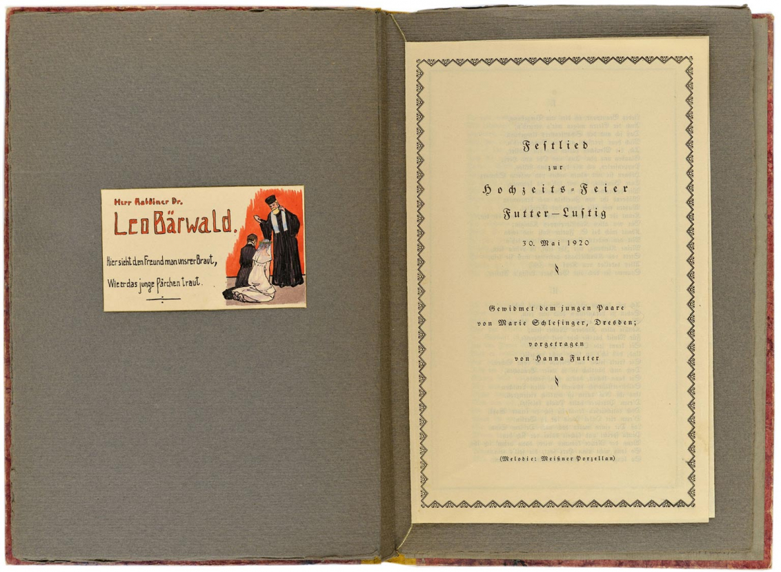 Two-page spread with Leo Baerwald's place card and the first page of the celebratory song