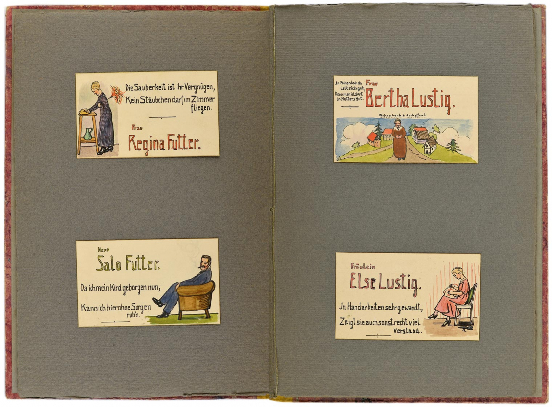 Two-page spread with the place cards for Regina Futter, Salo Futter, Bertha Lustig, and Else Lustig
