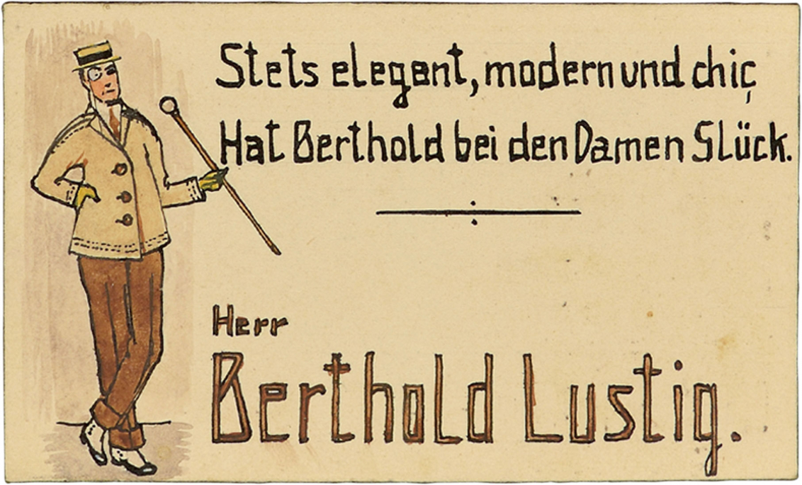 Berthold Lustig's place card. To the left of the couplet and his name, Berthold Lustig is portrayed as an elegant gentleman with a monocle and a cane. The couplet reads: