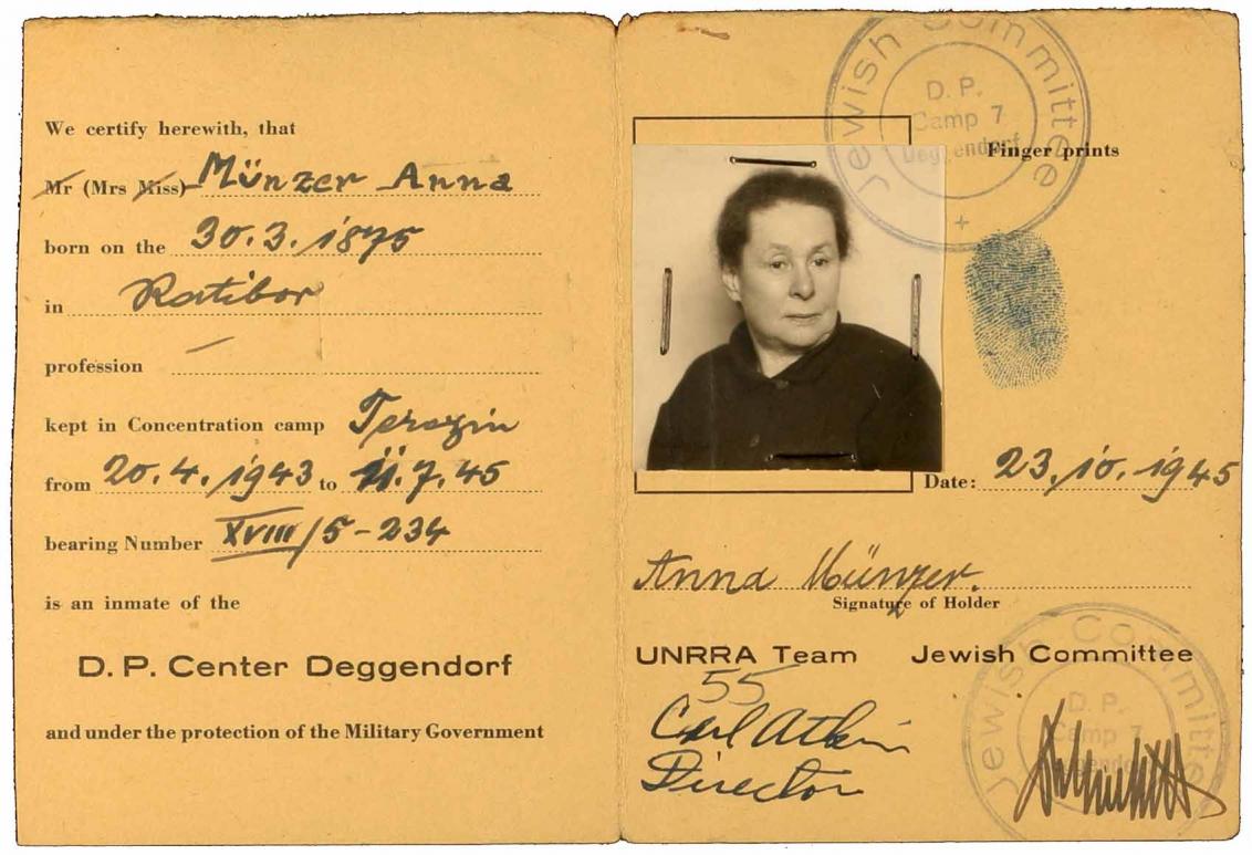 Ausweis des Displaced Person-Camps Deggendorf, Klappkarte, Passfoto, Vordruck, handschriftlich ausgefüllt mit Fingerabdruck und Stempel