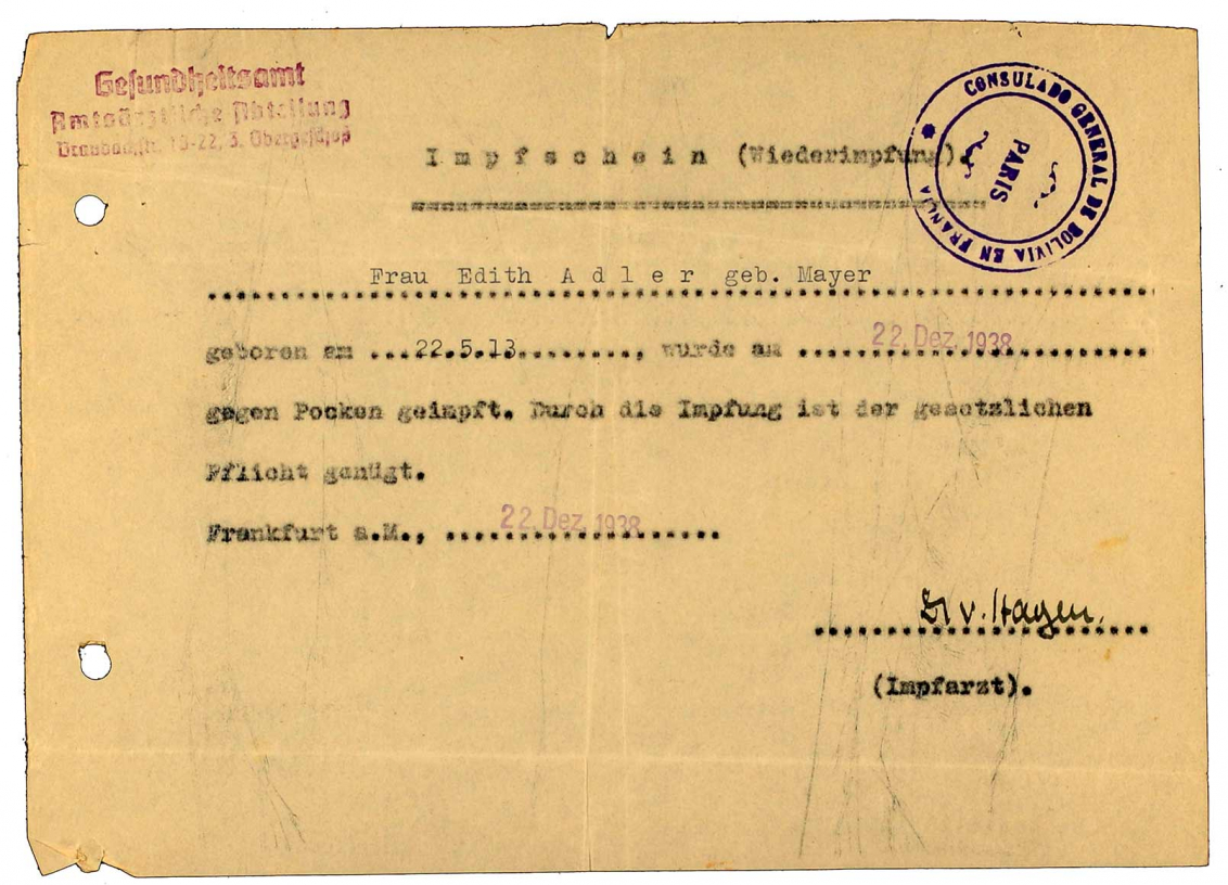 Impfbescheinigung für Edith Adler: Gesundheitsamt, betr. Pocken-Impfung, Vordruck, maschinenschriftlich ausgefüllt, Frankfurt am Main, 22.12.1938