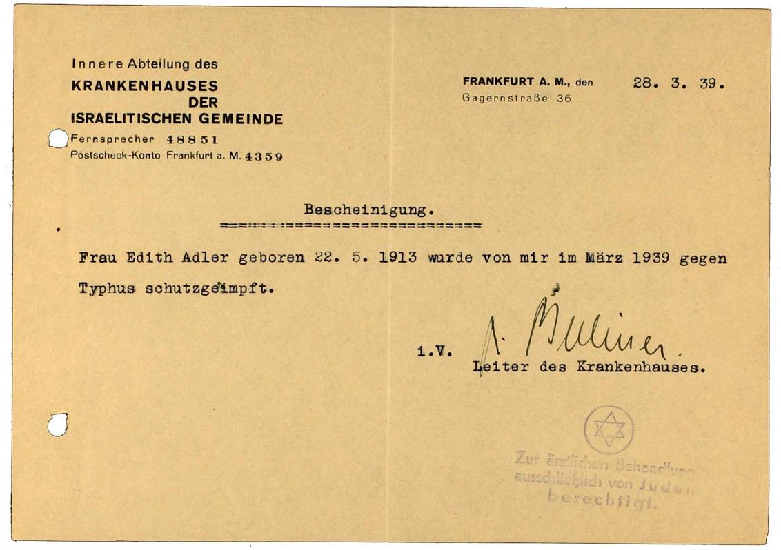 Impfbescheinigung für Edith Adler: Krankenhaus der Israelitischen Gemeinde, betrifft Typhus-Impfung, maschinenschriftlich, Frankfurt am Main, 28.3.1939