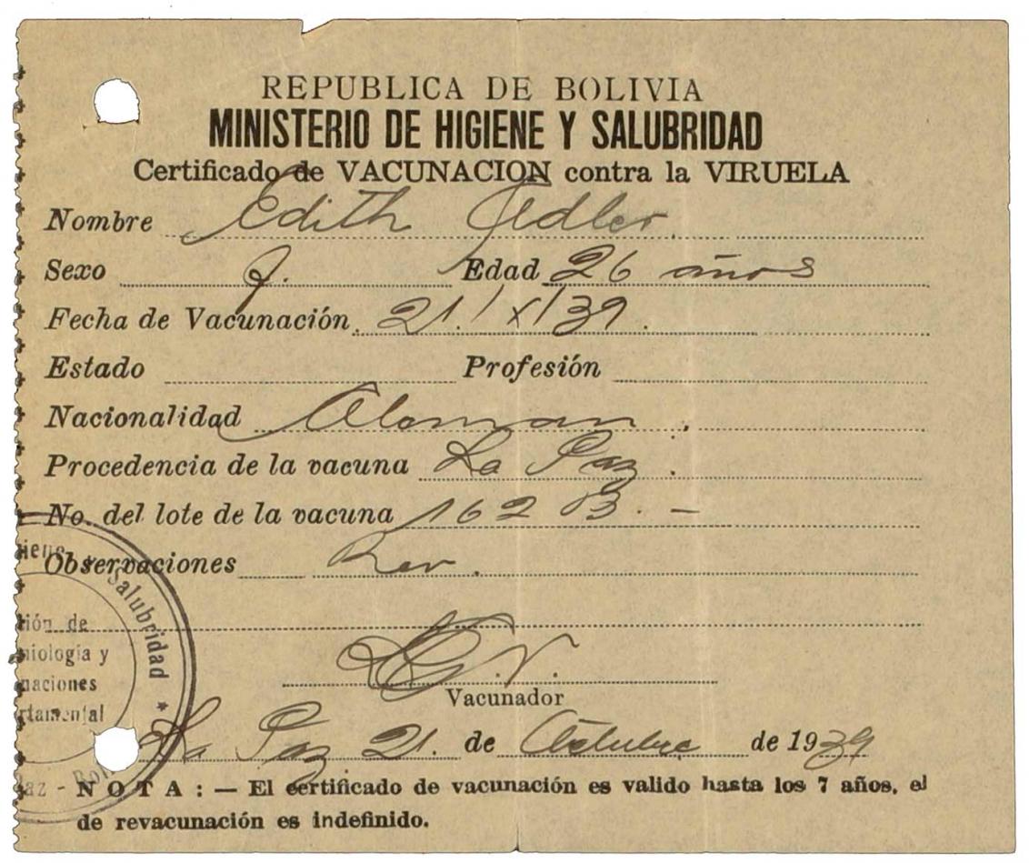 Impfbescheinigung für Edith Adler: betrifft Impfung gegen Viruela (Pocken), Vordruck, handschriftlich ausgefüllt, spanisch, La Paz, 21.10.1939