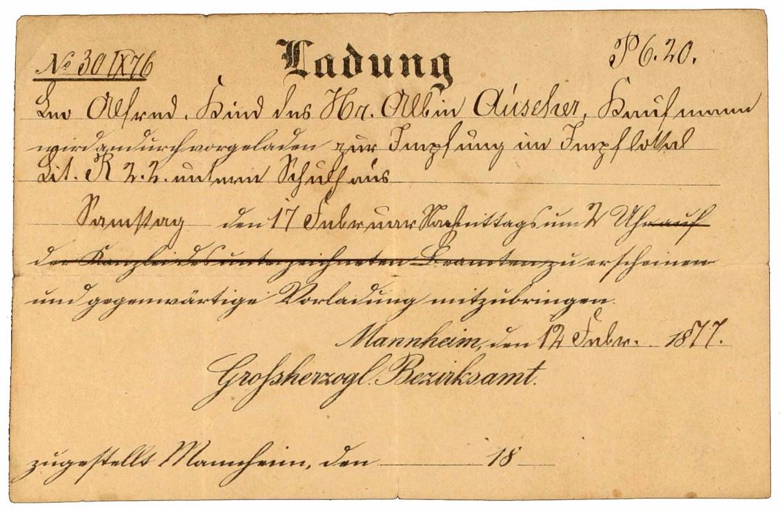 Vorladung: Großherzogliches Bezirksamt, betr. Impfung des Kindes Alfred Auscher, Vordruck, handschriftlich ausgefüllt, Mannheim, 12.2.1877