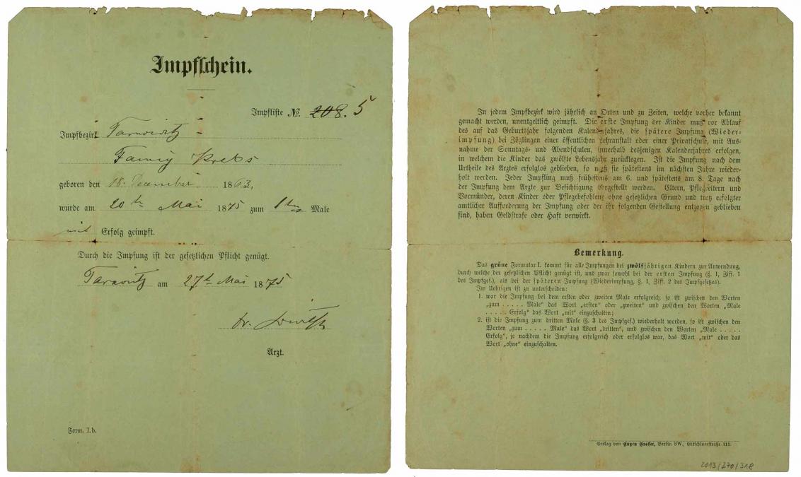 Vorder- und Rückseite der Impfbescheinigung für Fanny Krebs, Pockenschutzimpung, handschriftlich ausgefüllt, Tarnowitz, 20.05.1875