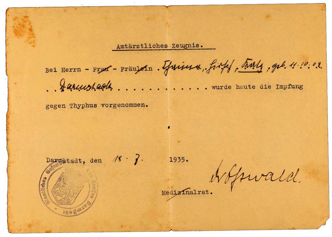Impfbescheinigung für Heinrich Katz: betrifft Typhus, Vordruck, handschriftlich ausgefüllt, Darmstadt, 18.7.1935