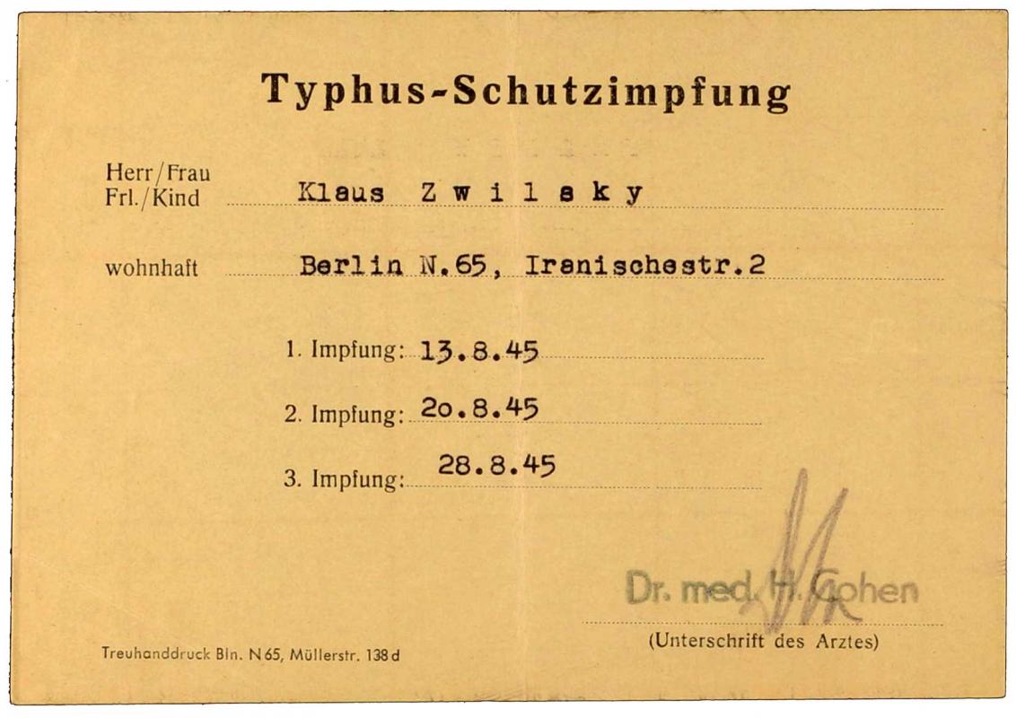 Impfbescheinigung für Klaus Zwilsky, ausgestellt von Dr. med. Helmut Cohen, Vordruck, handschriftlich ausgefüllt