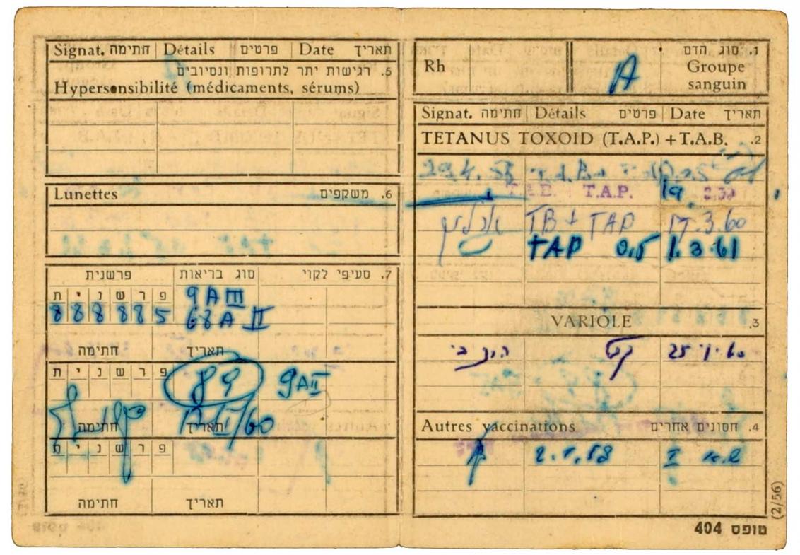 Identitätsausweis für Willi Löhr: In den Ausweis sind Impfungen und Blutgruppe von Willi Löhr mit den jeweiligen Kürzeln des Arztes eingetragen.