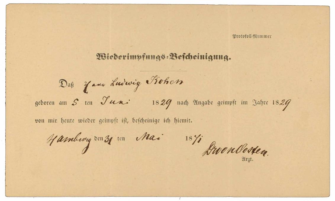 Impfbescheinigung für Ludwig Kohen: Vorderseite, handschriftlich ausgefüllt, Hamburg, 31.05.1871