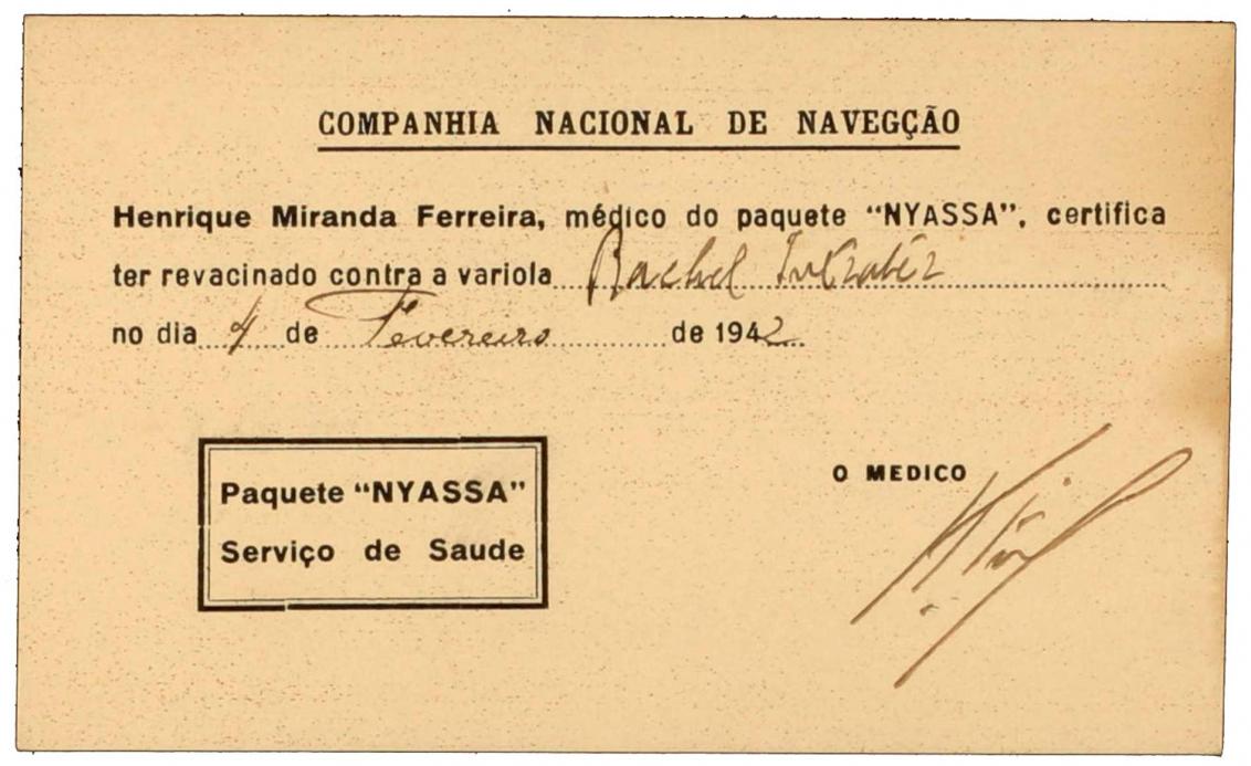 Portugiesischer Impfbescheinigungsvordruck, handschriftlich ausgefüllt und unterschrieben vom Schiffsarzt Henrique Miranda Ferreira