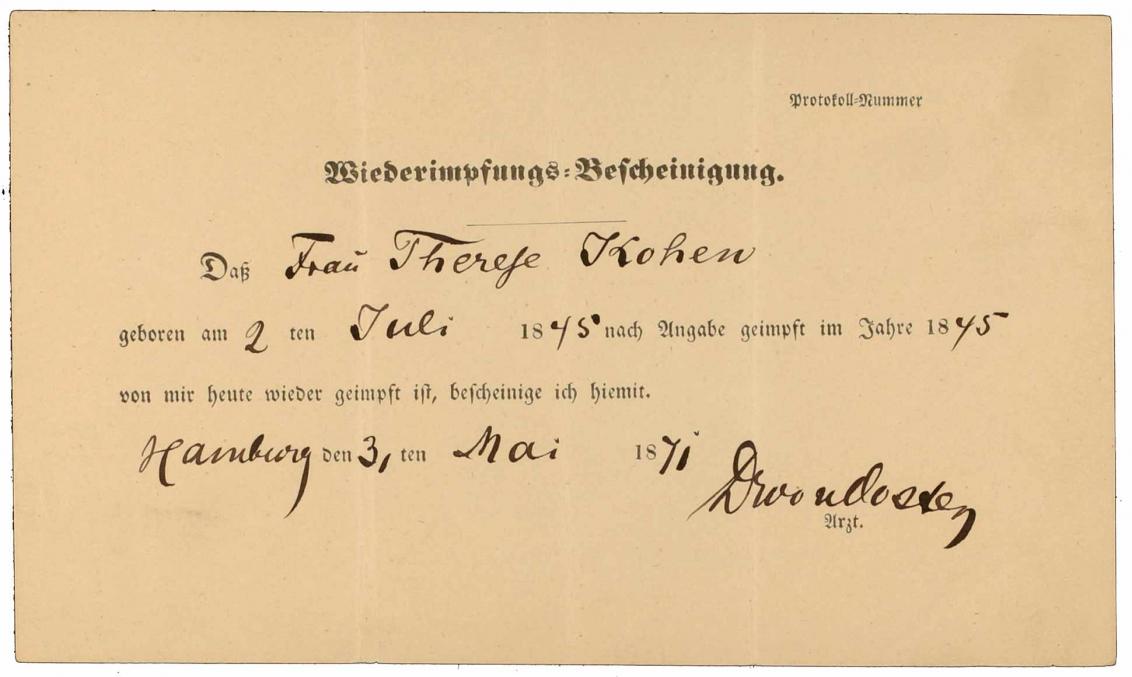 Impfbescheinigung für Therese Kohen: Vorderseite, handschriftlich ausgefüllt, Hamburg, 31.5.1871