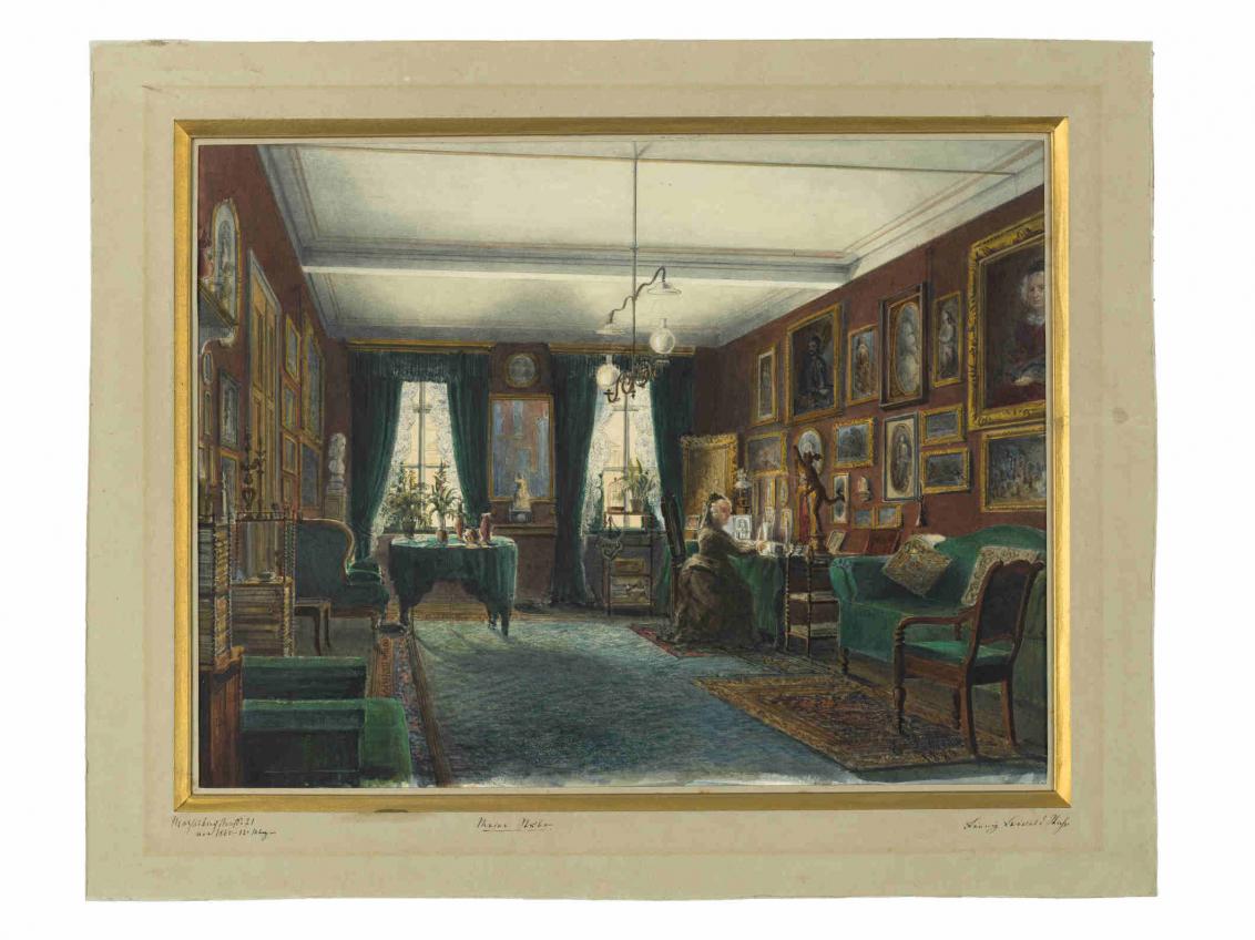 Gemälde von einem Raum mit Gemälden an der Wand und einer Frau in einem Kleid an einem Schreibtisch