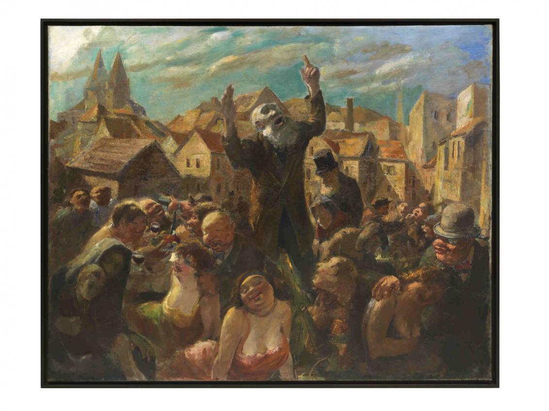 Gemälde mit einem Mann mit Bart im Zentrum, um ihn herum Menschen, im Hintergrund Häuser