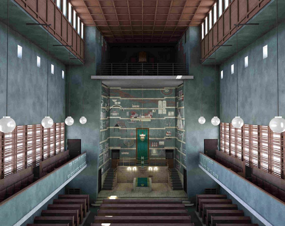 Grauer Raum mit Bänken, Tora-Schrein und Holzelementen