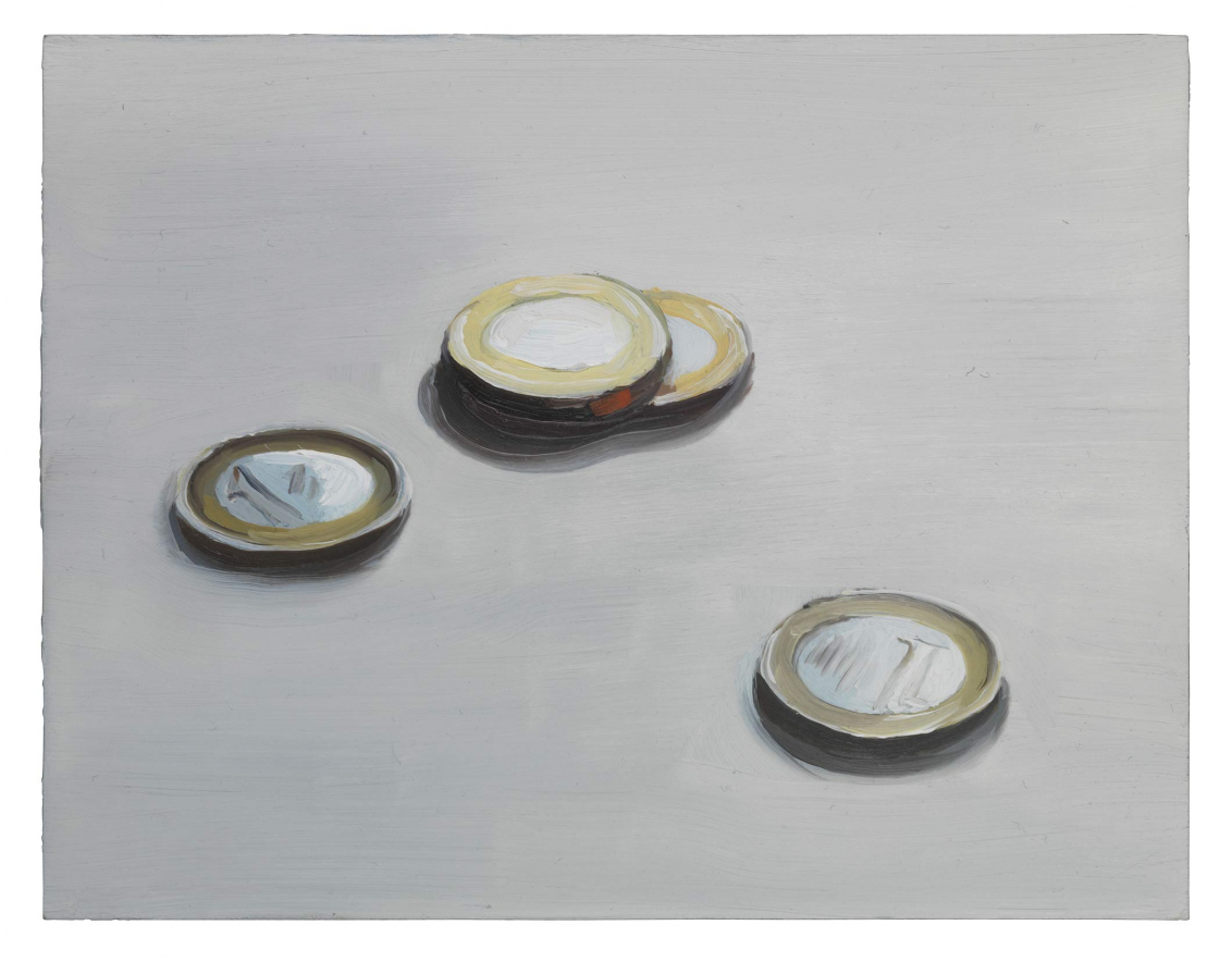Painting of four silver and gold Euro coins on a white table