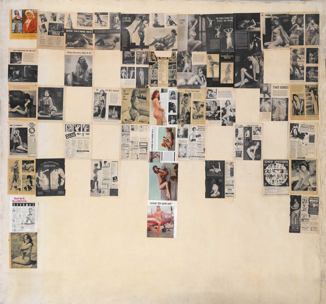 Collage of multiple newspaper and magazine articles and advertisements with pictures of naked women