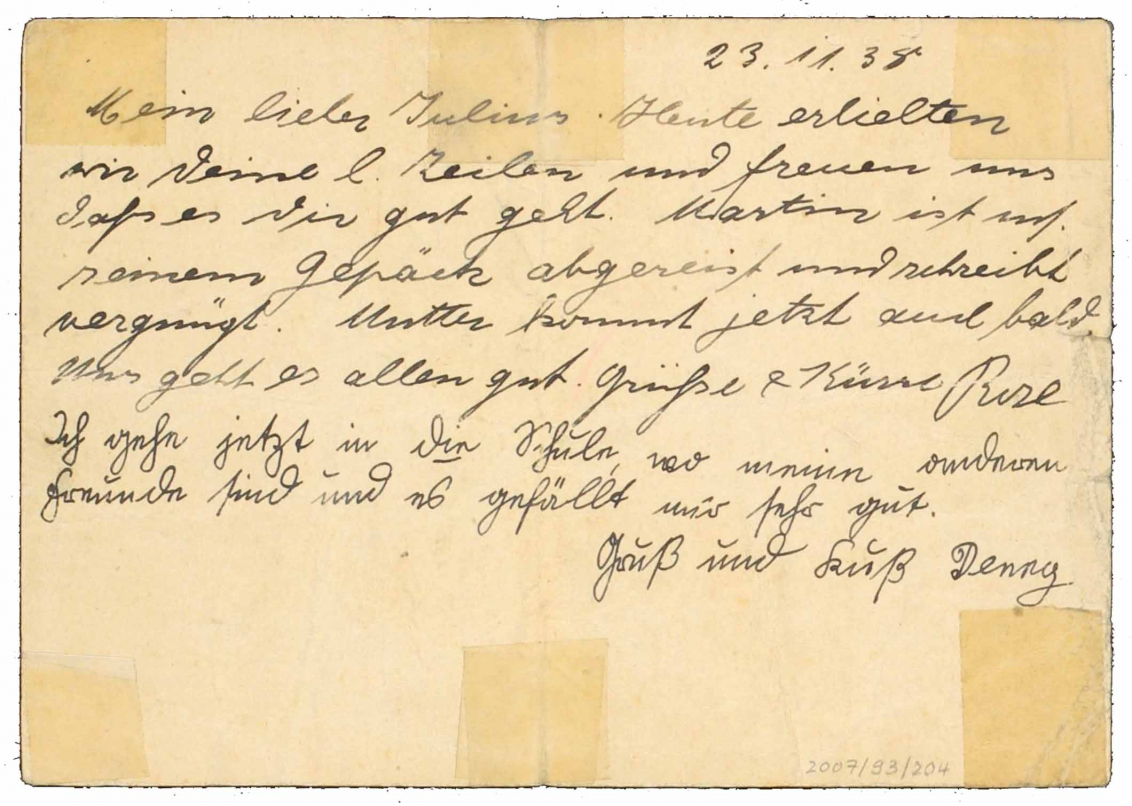 The handwritten postcard mentioned in the body text