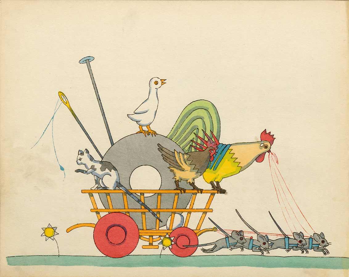 Zeichnung eines von vier angeschirrten Mäusen gezogenen Wagens, in dem eine Katze, ein Hahn, ein Huhn und eine Ente sowie eine Garnrolle mit Nadel transportiert werden