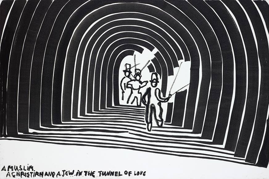 Schwarz-Weiß-Zeichnung mit drei Männern, die durch einen Tunnel laufen