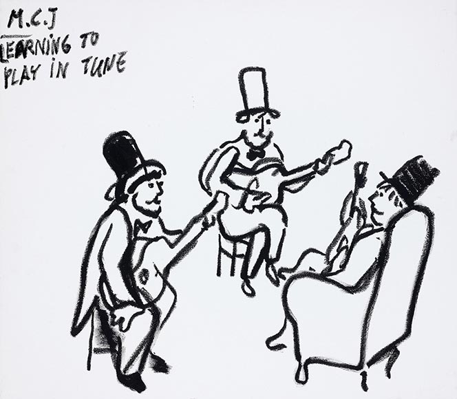 Drawing of three men with guitars