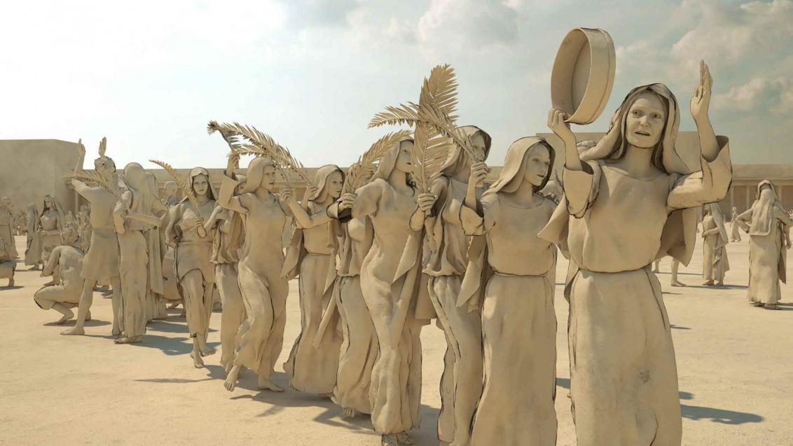 Die gesamte Szenerie sowie die in 3D-modellierten weiblichen Figuren sind monochrom in sandfarbig-beige gehalten. Die Frauen gehen hintereinander, sie bilden eine Festzug. Die meisten halten einen Palmzweig in der Hand