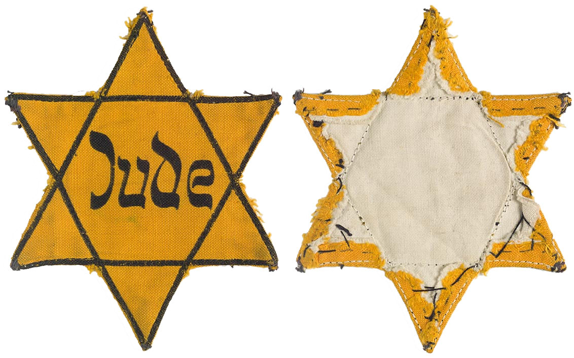 Patch of a yellow, six-pointed star with the inscription