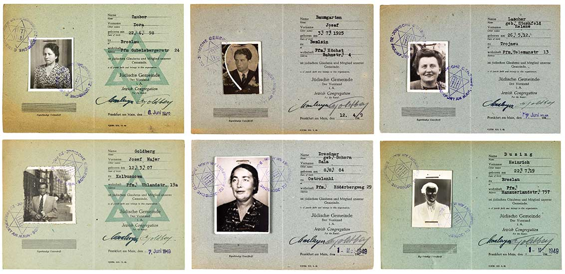 Six membership cards of the Frankfurt Jewish Community, stamped in 1949